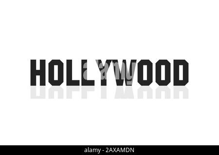 Hollywood lettering banner. Black letters isolated on white backgrund. Tourism in California. EPS 10 - Stock Photo