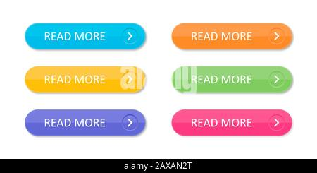 Set of colorful buttons with icons isolated on white background for websites and applications in flat style. EPS 10 - Stock Photo