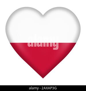 A Poland flag heart button isolated on white with clipping path - Stock Photo