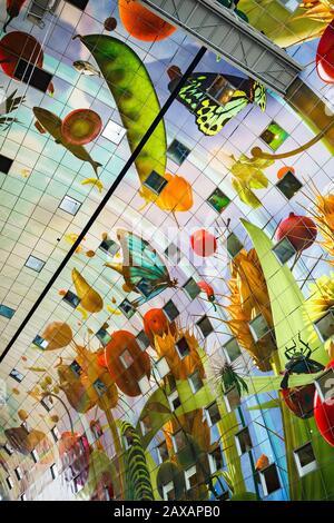 Markthal interior, food market building in Rotterdam, Holland - Stock Photo
