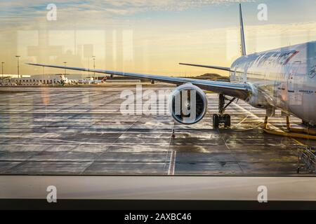 Charles de Gaulle airport, Paris, Dec 2015 - View of an Air France aircraft on the tarmac  - Stock Photo