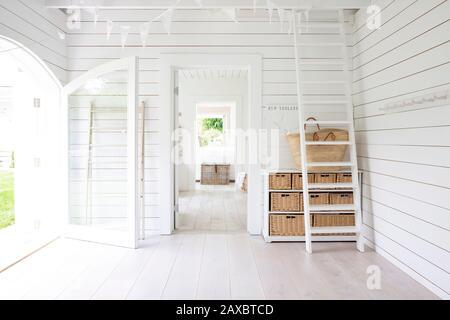 White wood shiplap beach house room - Stock Photo