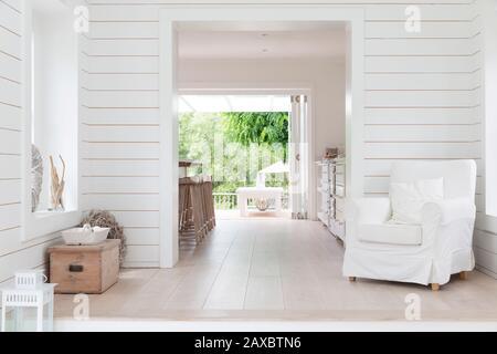 White wood shiplap home showcase interior sitting area - Stock Photo