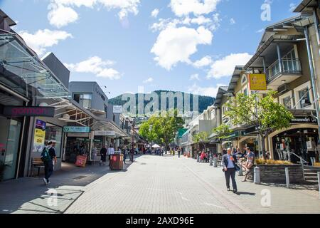 Queenstown New Zealand.City Streets of Queenstown South Island New Zealand a Popular Travel Tourism Destination. Busy Streets of Tourist Town.