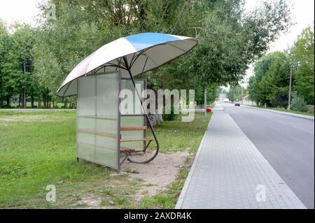 designer stop on the street, art object umbrella, Krasnozmensk, Kaliningrad region, Russia, July 29, 2019 - Stock Photo