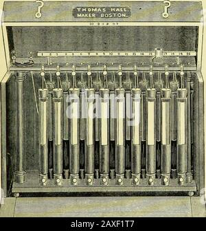 Electro-therapeutics: a condensed manual of medical electricity . tured by Kriiger & Hirschmann(now Hirschmann) of Berlin (Remaks battery), whichneeds cleaning but once in six or twelve months, and iscertainly one of the most desirable batteries for officeuse, though too bulky to be made portable. Muirheadsis a Daniells without sulphuric acid. Leclanches is avery constant battery, requiring but little attention. Itsporous cell contains a piece of carbon, packed tightly 1 I have seen two batteries of this sort in which the copper hadmade its way through the diaphragms of some of the cells. Inmy - Stock Photo