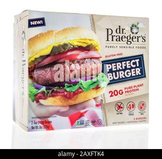 Winneconne,  WI - 11 February 2020:  A package of Dr Praegers perfect burger pure plant protein on an isolated background. - Stock Photo