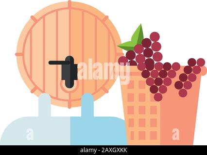 wine barrel drink and grapes in basket - Stock Photo