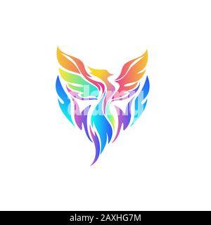 Colorful Phoenix logo in pink blue and yellow colors - Stock Photo