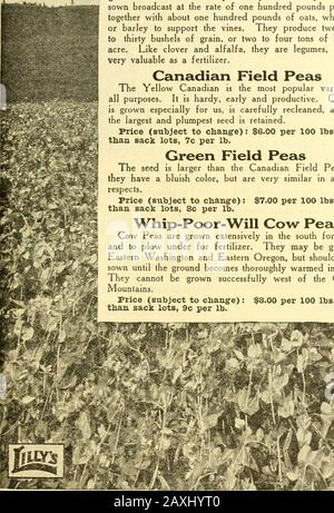 Lilly's complete annual catalog : seeds fertilizers stock foods bee supplies spray materiels poultry supplies . FIELD PEAS. - Stock Photo