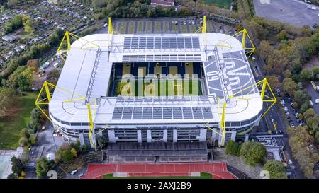 Westfalenstadion is a football stadium in Dortmund, Germany, which is the home of Borussia Dortmund. Officially called Signal Iduna Park - Stock Photo
