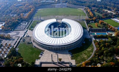 Olympic Stadium is a sports stadium at Olympia park in Berlin, Germany. Olympiastadion is home ground of Hertha BSC - Stock Photo