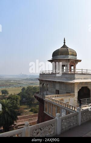 Taj Mahal view from Prison of Shah Jahan in Agra Fort, Uttar Pradesh, India - Stock Photo