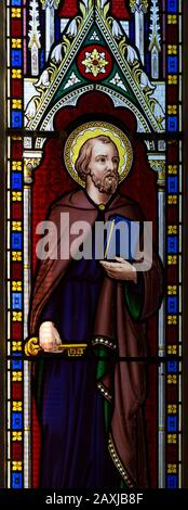 Saint Peter, stained glass window circa 1846 thought to be by Wailes, church of Saint James Stert, Wiltshire, England, UK - Stock Photo