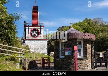 Ticket office kiosk at entrance to Victorian Great Laxey Wheel or Lady Isabella part of mines trail complex. Laxey, Isle of Man, British Isles - Stock Photo