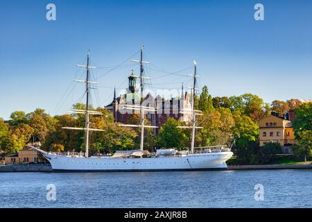 16 September 2018: Stockholm, Sweden - AF Chapman,  a full-rigged steel ship moored on the western shore of the islet Skeppsholmen, which acts as a... - Stock Photo
