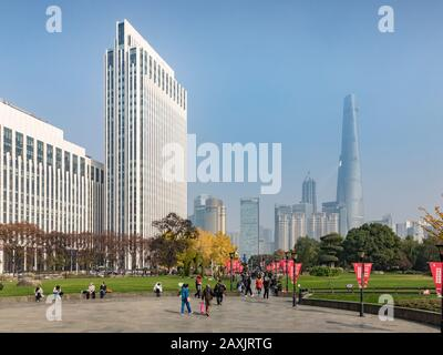 29 November 2018 - Shanghai, China  -  Shanghai skyline from Gucheng Park, looking towards the Pudong district. - Stock Photo