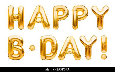 Words HAPPY B-DAY made of golden inflatable balloons isolated on white background. Gold foil helium balloons forming phrase. Birthday congratulations - Stock Photo