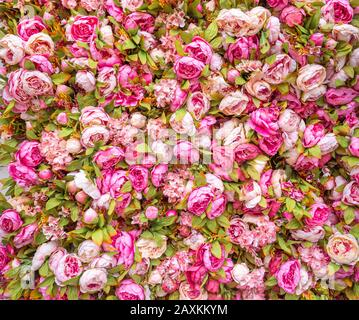 Beautiful background of artificial pink peonies. Wedding festive decoration. Floral rose background. Pink flowers background - Stock Photo