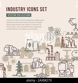 Vector collection with a set of industrial icons in linear and flat style. - Stock Photo