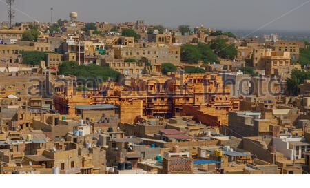 Patwon Ki Haveli, view from the top of the Jaisalmer Fort - Stock Photo