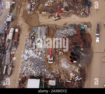 Drone aerial Metal scrapyard recycling Cincinnati Ohio USA - Stock Photo