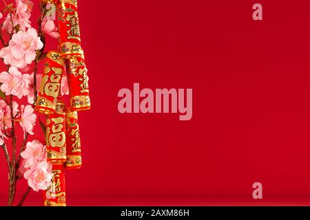Chinese new year festival.Celebration Chinese new year or lunar new year.Chinese New Year Decoration.Text space images. (with the character 'fu' meani