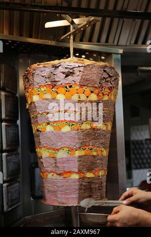 Tradicional turkish food doner kebab in a street. Bodrum. Turkey