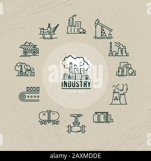 A set of industrial vector icons in linear style for a logo or infographic - Stock Photo