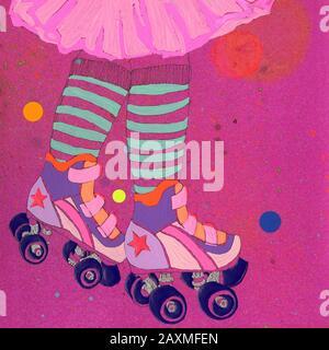 Low section of girl roller skating wearing pink tutu - Stock Photo