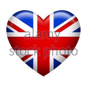 Heart shape of United Kingdom flag isolated on white - Stock Photo