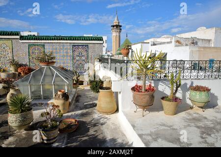 TUNIS, TUNISIA - JANUARY 01, 2020: Colorful tiled terrace overlooking the medina, with a view on the minaret of Hammouda Pacha Mosque and plants - Stock Photo