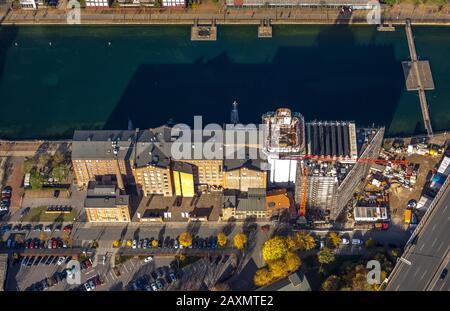 Aerial shots, museum Küppersmühle for modern art, interior harbour, rebuilding of the museum, Duisburg, Duisburg, Ruhr area, North Rhine-Westphalia, G - Stock Photo