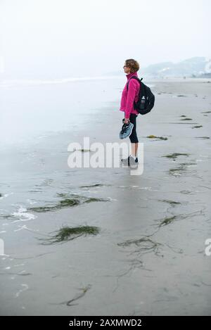 A middle aged woman standing on the beach, taking in the scene. - Stock Photo