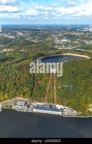 Aerial picture, Hengsteysee, in the ship angle in Herdecke the reorganisation goes on, diagonal lift between sliding-sleeve house and shore should be - Stock Photo