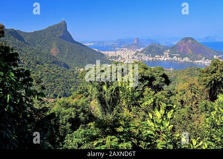 Vista Chinesa in the Tijuca national park with view over the rainforest to the Corcovado 710 m and Sugar Loaf Mountain 396 m, Rio de Janeiro, Brazil - Stock Photo