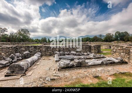 Forum section at Ulpia Traiana, 2nd century Roman Dacia city ruins in village of Sarmizegetusa, Hunedoara County, Transylvania Region, Romania - Stock Photo