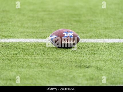 Arlington, Texas, USA. 9th Feb, 2020. XFL football on the field before the 1st half of the XFL game between St. Louis Battlehawks and the Dallas Renegades at Globe Life Park in Arlington, Texas. Matthew Lynch/CSM/Alamy Live News - Stock Photo