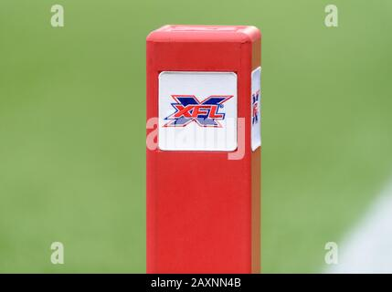 Arlington, Texas, USA. 9th Feb, 2020. XFL goal line pylon during the 1st half of the XFL game between St. Louis Battlehawks and the Dallas Renegades at Globe Life Park in Arlington, Texas. Matthew Lynch/CSM/Alamy Live News - Stock Photo
