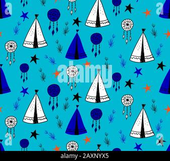 Seamless pattern in Scandinavian style for children .. Cute cartoon trees and tents on a blue background. Wigwam for the Indians. Drawings for boys - Stock Photo