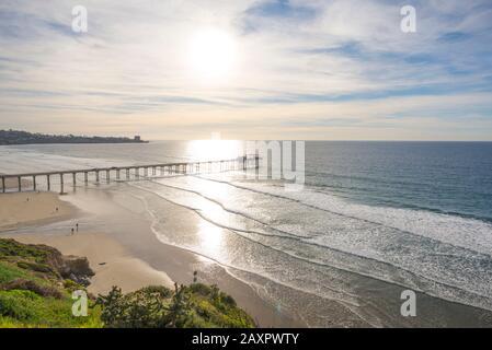 Winter coastal scene with a view of Scripps Pier. La Jolla, CA, USA.