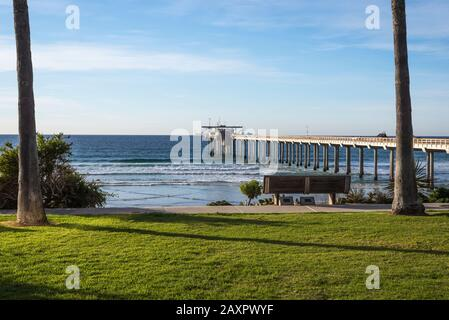 Winter coastal scene with a view of Scripps Pier. La Jolla, CA, USA. This view is from the grounds of the Scripps Institute Of Oceanography.