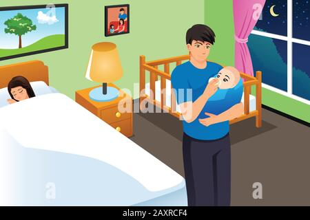 A vector illustration of New Father Feeding His Baby While Mother is Sleeping - Stock Photo
