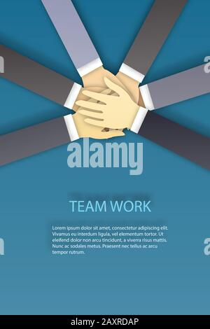 Business team stack their hands together people joining for cooperation success business. Teamwork concept vector illustration - Stock Photo