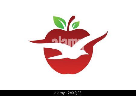 Flying bird and apple fruit logo sign symbol in flat style on white background - Stock Photo