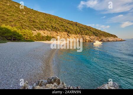 Landscape from the beach near Lubenice (Sveti Ivan Beach), Cres, Croatia, Europe - Stock Photo