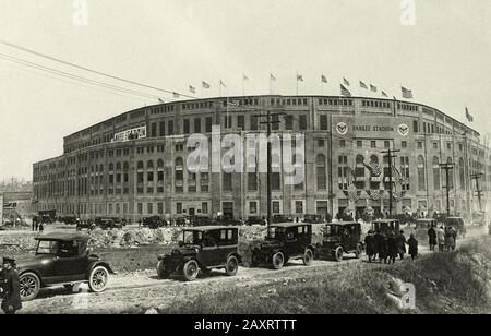 Yankee Stadium Opening Day-A view of the Stadium as cars are parked outside the stadium. Bronx, New York, New York, USA. 1923