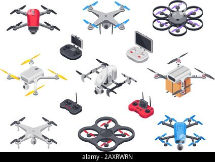 Remote control flying copter with camera. Radio controllers - Stock Photo