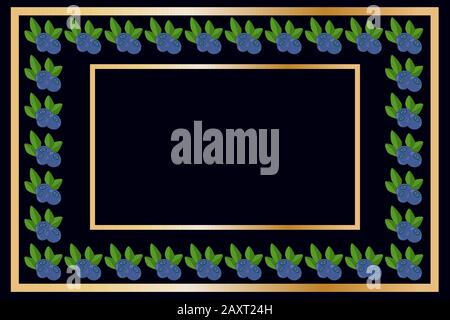 Gold frame blueberry tea, wine or alcohol label package. Fruit tag for food products, juice, jam, ice cream, smoothies, yogurt, soap, cosmetics. Vecto - Stock Photo