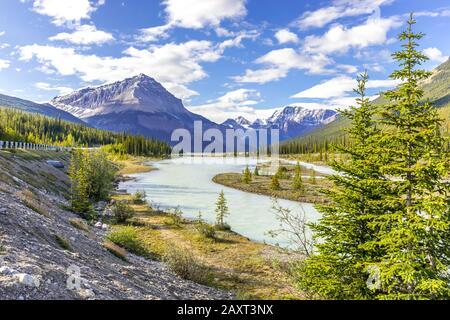Athabasca river winding its way through the Canadian Rockies, Alberta